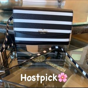 NWT Black & White Striped Kate s Spade Crossbody
